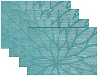 SICOHOME Placemats,Vinyl Placemats for Home Kitchen Dining Table,Set of 4,Teel