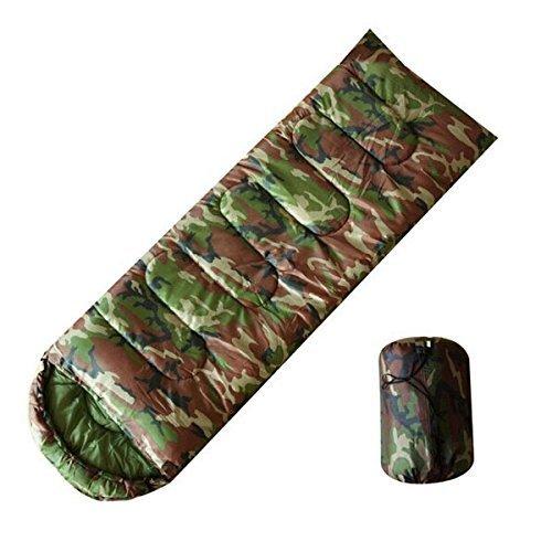 olayer Camouflage Camping Sac de couchage 3 saisons Garnissage en coton Enveloppe Style Armée Militaire à capuche Sacs de couchage