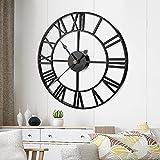 FOGARI - Reloj de pared con números vintage de metal, funcionamiento con batería, 40 cm, reloj de pared, para salón, dormitorio, comedor, cocina, oficina, color negro
