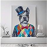 SDGW Colorido Perro con Ropa Arte De La Pared Pintura En Lienzo Carteles Impresiones Cuadros De La Pared para La Decoración De La Sala De Estar del Bar del Hotel-50X70Cm Sin Marco