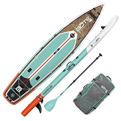 BOTE Traveller Aero Inflatable Stand Up Paddle Board, High Performance SUP with Accessories | Pump, Paddle & Repair Kit, Classic Teak