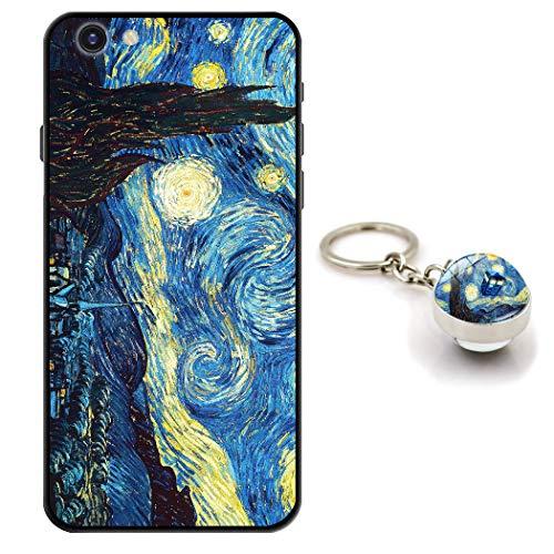 Staremeplz Cover iPhone 6s Van Gogh Notte Stellata Custodia per iPhone 6 / iPhone 6s [con Portachiavi] Silicone Sottile Morbido TPU Case Protettivo Antiurto Cassa Custodie Arte