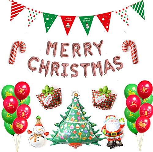 SAGESSE Globos de Navidad, Santa Claus Christmas Bear Globos Decoración árbol de Navidad muñeco de Nieve Papá Noel Globo para Fiestas de Navidad decoración