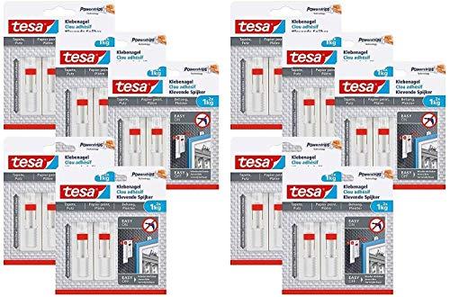 tesa Verstellbarer Klebenagel für Tapeten und Putz/Selbstklebender Nagel von tesa Powerstrips (20 Nägel (1 kg))