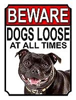 常に犬が緩んでいることに注意してください 金属板ブリキ看板警告サイン注意サイン表示パネル情報サイン金属安全サイン