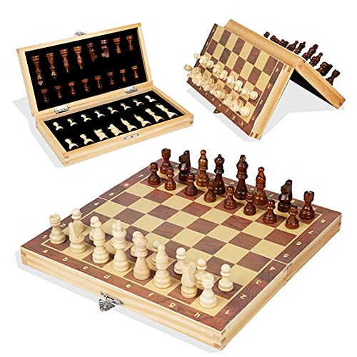 24x24cm Nuolate2019 Chess Armory 3-in-1 Wooden Chess Set Foldable International Chess Set for Home Travel Games