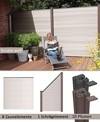 terrasso WPC/BPC Sichtschutzzaun bi-Color weiß 8 Zäune, 1 Schrägelement inkl. 10 Pfosten Sichtschutz Gartenzaun
