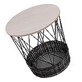 Wakects Mesita de noche de sofá de hierro MDF, mesa auxiliar con cesta de almacenamiento, mesa de madera con diseño hueco, suministros para el hogar, 49 x 37 cm, 10 kg de carga