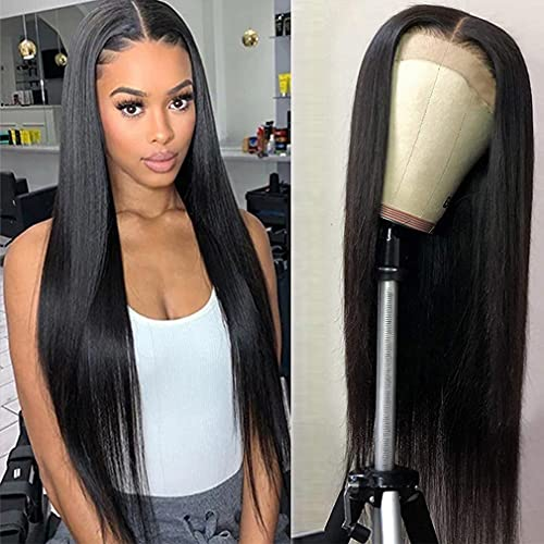 Grace Plus Hair 4x4 Straight Closure Wigs Human Hair Pre-Plucked With Baby Hair 150% Density Brazilian Straight Lace Wigs For Black Women Natural Color (22 inch)