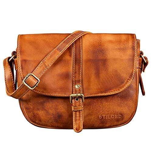 STILORD 'Leni' Damen Umhängetasche Leder kleine Handtasche Frauen Vintage zum Ausgehen Partytasche klassisch Abendtasche Freizeittasche Echtleder, Farbe:larino - braun