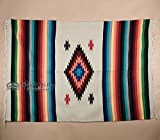Mission Del Rey Old Mexican Style Woven Blanket with Traditional Designs & Colors 5'x7' for beds, Yoga, Pic Nic, Beach, Travel and Rustic Home Decor (Mazatlan)