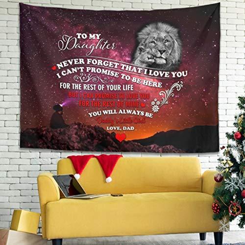 Ballbollbll Lion Baby To My Daughter Tapiz colorido para colgar en la pared para dormitorio, sala de estar, color blanco, 79 x 59 pulgadas
