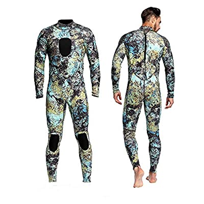 Dyung Tec Wetsuits Mens 3MM Camo Neoprene Scuba Diving Unisex One Piece Sport Skin Spearfishing Full Suit (L)