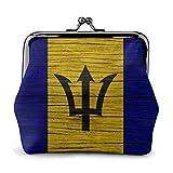 Textura de Madera Bandera de Barbados Bolsa Vintage Chica Kiss-Lock Cambio Monedero Carteras Hebilla Monederos de Cuero Llave Mujer Impresa