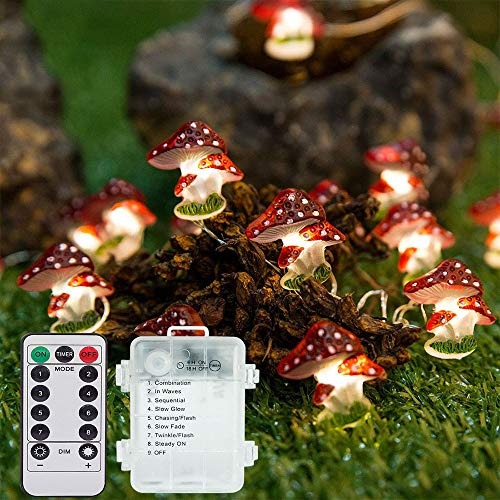 YChoice365 3M 30 LED Mushroom Fairy Lamp LED String Light Cute Decor Lights with Remote Control IP65 Waterproof Mushroom Lamp Shade for Children Birthday Party Kid Room Outdoor Decoration