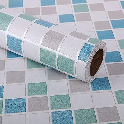 Kitchen-dream 45 CM X 3 Mt Mosaikfliesenfolie selbstklebend, Fliesenaufkleber, Möbel PVC Wasserdichte Selbstklebende Tapete für Bad, küche, wand (Blau)