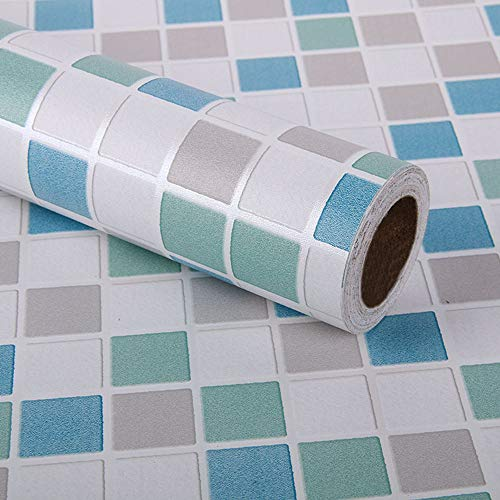 Kitchen-dream 45CM X 3M Mosaico de papel de mosaico autoadhesivo, adhesivo de azulejo, muebles de PVC impermeable autoadhesivo papel tapiz para baño, cocina, pared (azul)