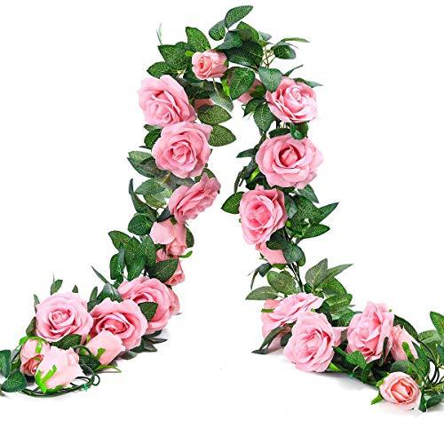 Künstlich Rosen Blumengirlande Kunstblumen Seidenblumen Blumen Rose Girlande Hängend Rebe für Zuhause Wand Hochzeit Bogen Anordnung Dekoration (2 Stücke, 9 Blumen - Dunkel Rosa)