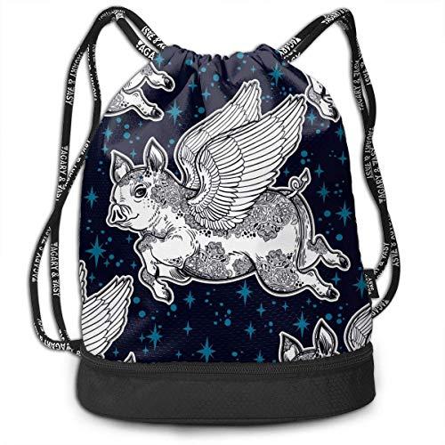 Ligero multifunción Flying Pig Fashion Bundle Mochila Bolsos de hombro Bolso con cordón al aire libre para mujeres / hombres