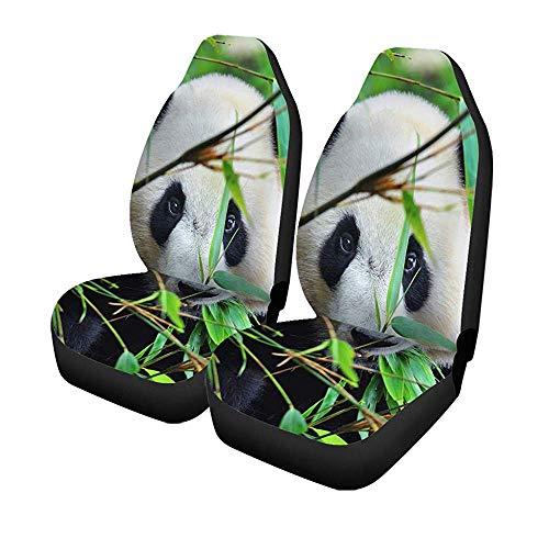 Set met 2 auto's Seat Covers China Hungry reuzebeer eettafel bamboe dieren voorstoelen Universal Protector 14 – 17 inch