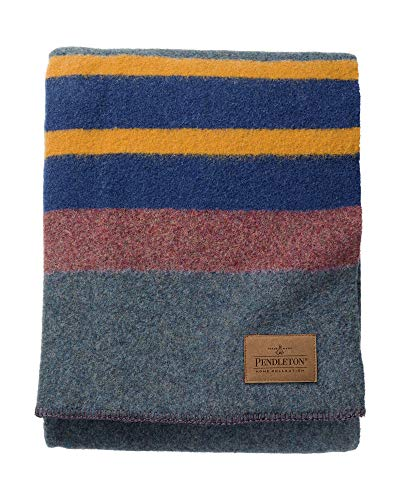 Pendleton Yakima Camp Thick Warm Wool Indoor Outdoor Striped Throw Blanket, Lake, Twin Size