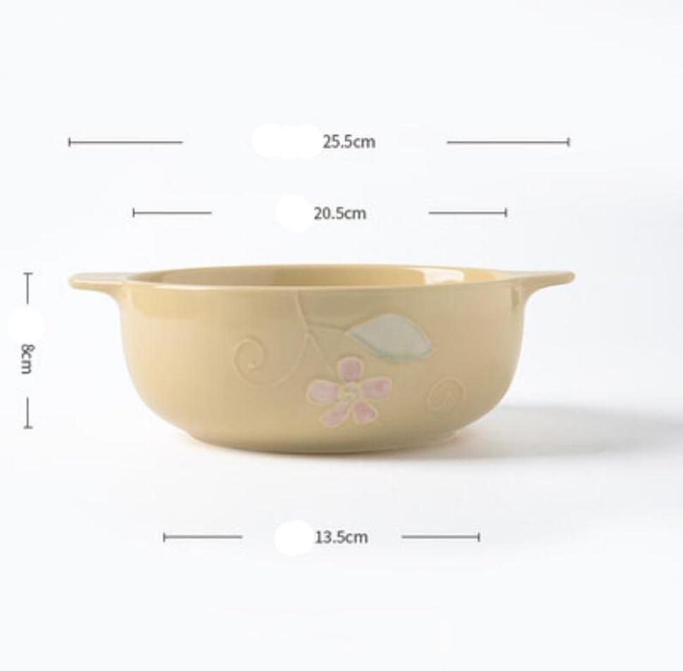 Liuyu Kitchen Home Céramique Double oreille Cuillère à soupe anti-chaude Bassin de soupe à la maison Bol à salade de fruits 8 pouces Soupe Bol Vaisselle (Couleur : Rose) Le Jaune