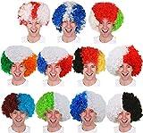 Perruque afro blanche et noire pour les fans de football, de rugby ou tout autre événement sportif et soirée déguisée pour homme ou femme (lot de 6)