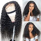 Deep Curly Lace Closure Human Hair Wig For Black Women 8A Kinky Curly 4x4 Lace Closure Human Hair 150% Density Brzilian Virgin Hair Pre Plucked Hairline With Baby Hair Supernova Hair (24 inch)