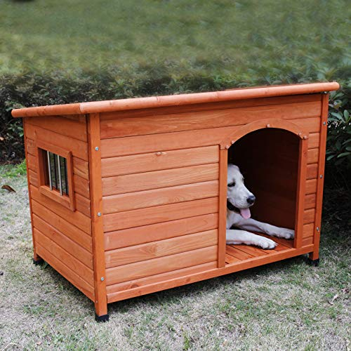ROCKEVER Wooden Dog Houses for Large Dogs Outside, Large Dog House Outdoors Weatherproof with Door Insulated Autumn Blonde