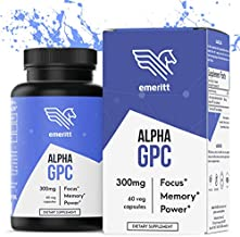 Alpha GPC Choline Supplement | Premium Nootropic for Brain Support, Enhanced Focus and Memory | Vegan, Non GMO, No Soy, from Pure Sunflower Lecithin, Pharmaceutical Grade | 600 mg 30 Servings