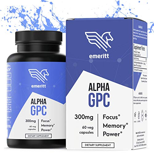 Alpha GPC Choline Supplement, No Soy and Vegan Version of The Best Choline Form to Support Cognitive Function, Brain Health, Boost Focus, Memory and Power. 300mg Capsules, 600mg Servings. Made in USA
