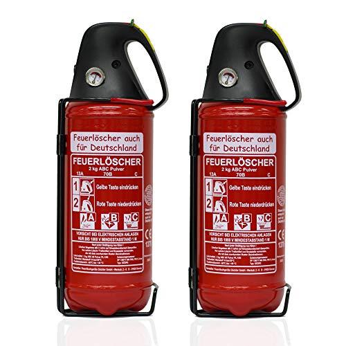 2X 2kg Autofeuerlöscher Qualitäts-Pulverlöscher Feuerlöscher, LKW PKW KFZ DIN EN 3 Manometer Halterung ABC 4LE