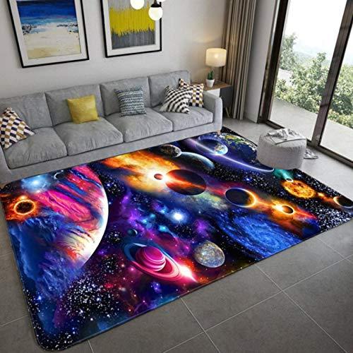 Rutschfeste Matte für Schlafzimmer, Wohnzimmer, Weltraum, Universum, Planet, 3D-Druck, Teppich, Sofa, Couchtisch, exquisiter Polyester-Teppich, 140 x 200 cm