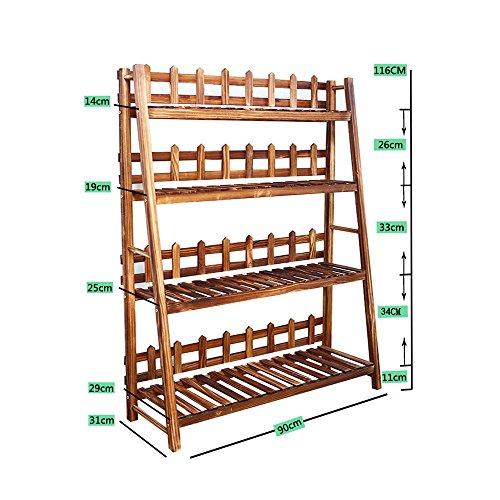 HJ support à fleurs Yxsd Solide étagère en Bois Multicouche intérieur extérieur Plancher Pot Rack Balcon Pliant étagère (Size : 90 * 31 * 116CM)