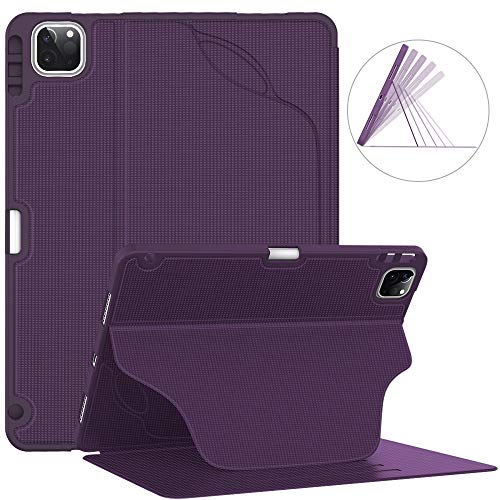 Soke Luxury Series Case for New iPad Pro 11 Inch 2020 & 2018 - [Built-in Pencil Holder + 6 Magnetic Stand Angles + 360 Full Protection + Premium PU Leather] - Sleep/Wake Cover,Purple