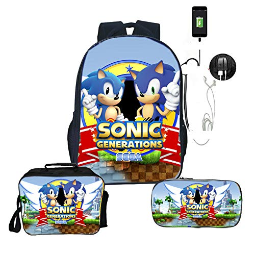 LINJIA Sonic Meal Pack Set Sonic Bags Teens Daily Backpack Surprise Gift Children Boys Girls School Backpack 3pcs/set Backpack+lunchBag+pencilCase