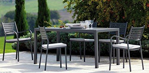 Mesa de jardín exterior Quatris 160 x 80 cm hierro antiguo + 8 sillones Alicia Vermobill Made in Italy