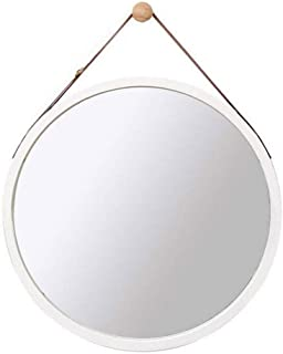 XZPENG Wall Mirror Round Bamboo Frame Adjustable Hanging Wall-Mounted Bathroom Makeup Vanity Mirrors (Color : White, Size : 38cm)