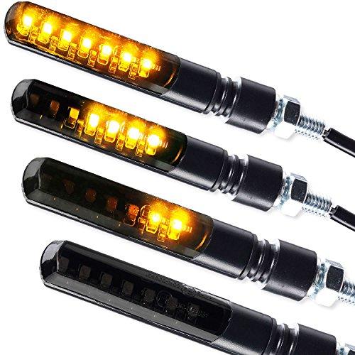 4 x LED Laufeffekt Lauflicht Blinker Motorradblinker Blade Sequentiell schwarz getönt 2 Paar 4 Stück