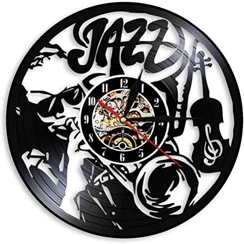 Reloj de pared de vinilo con diseño de guitarra jazz, reloj de pared moderno para decoración del hogar con personalidad retro para sala de estar, regalo hecho a mano, 30 cm de diámetro