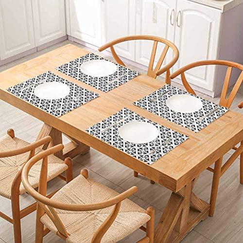 FloraGrantnan Lot de 6 sets de table rectangulaires lavables Noir et blanc Style Art abstrait Moderne Monoch pour cuisine salle à manger