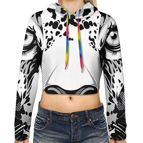 Women Cool Cheetah Leopard Black Crop Top Hoodie - 3D Printed Fit Short Hoodies Long Sleeves Casual Top Blouse