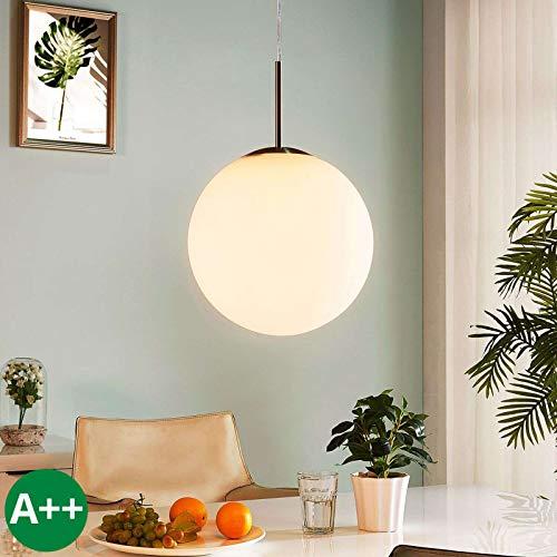 Lindby Pendelleuchte 'Marike' dimmbar (Modern) in Weiß aus Glas u.a. für Wohnzimmer & Esszimmer (1 flammig, E27, A++) - Hängelampe, Esstischlampe, Hängeleuchte, Wohnzimmerlampe