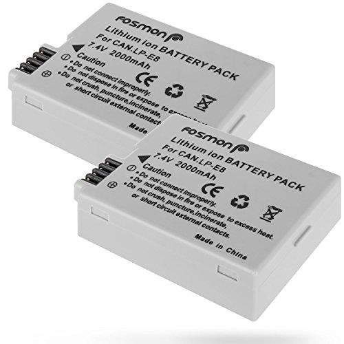 Fosmon 2X Batería Canon LP-E8 2000mAh Reemplazon Batería Rercargable para Canon Cámara LP E8 Rebel T3i T2i T4i T5i EOS 600D 550D 650D 700D Kiss X5 X4 Kiss X6 LC-E8E