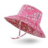 Ami & Li tots Niña Sombrero de Sol Bob Ajustable para Bebé Niña Niño Infantil Niños Pequeños Sombrero Protección Solar UPF 50 Unisexo-M:Fleurette Rosa