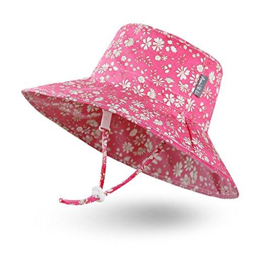 Ami & Li tots Niña Sombrero de Sol Bob Ajustable para Bebé Niña Niño Infantil Niños Pequeños Sombrero Protección Solar UPF 50 Unisexo-L:Fleurette Rosa