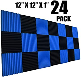 "24 Pack Black 1"" x 12"" x 12"" Acoustic Wedge Studio Foam Sound Absorption Wall Panels (12PACK BLUE+12APCK BLACK)"