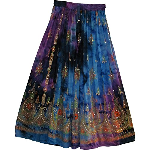 Womens Indian Sequin Crinkle Broomstick Gypsy Long Skirt (Blue/Purple Tones)