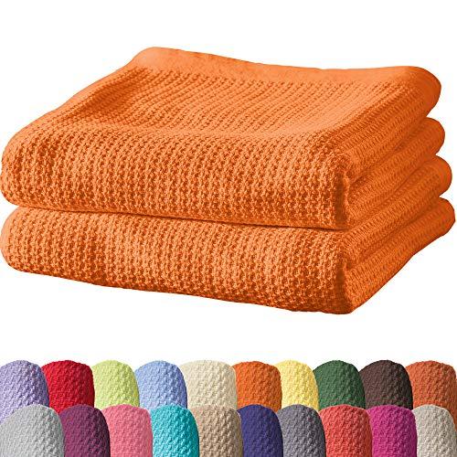 Erwin Müller Sommerdecke, Baumwolldecke - 2er-Pack - luftig-leicht, weiche Qualität, sehr angenehm - orange Größe 100x150 cm - weitere Farben und Größen - 100% Baumwolle