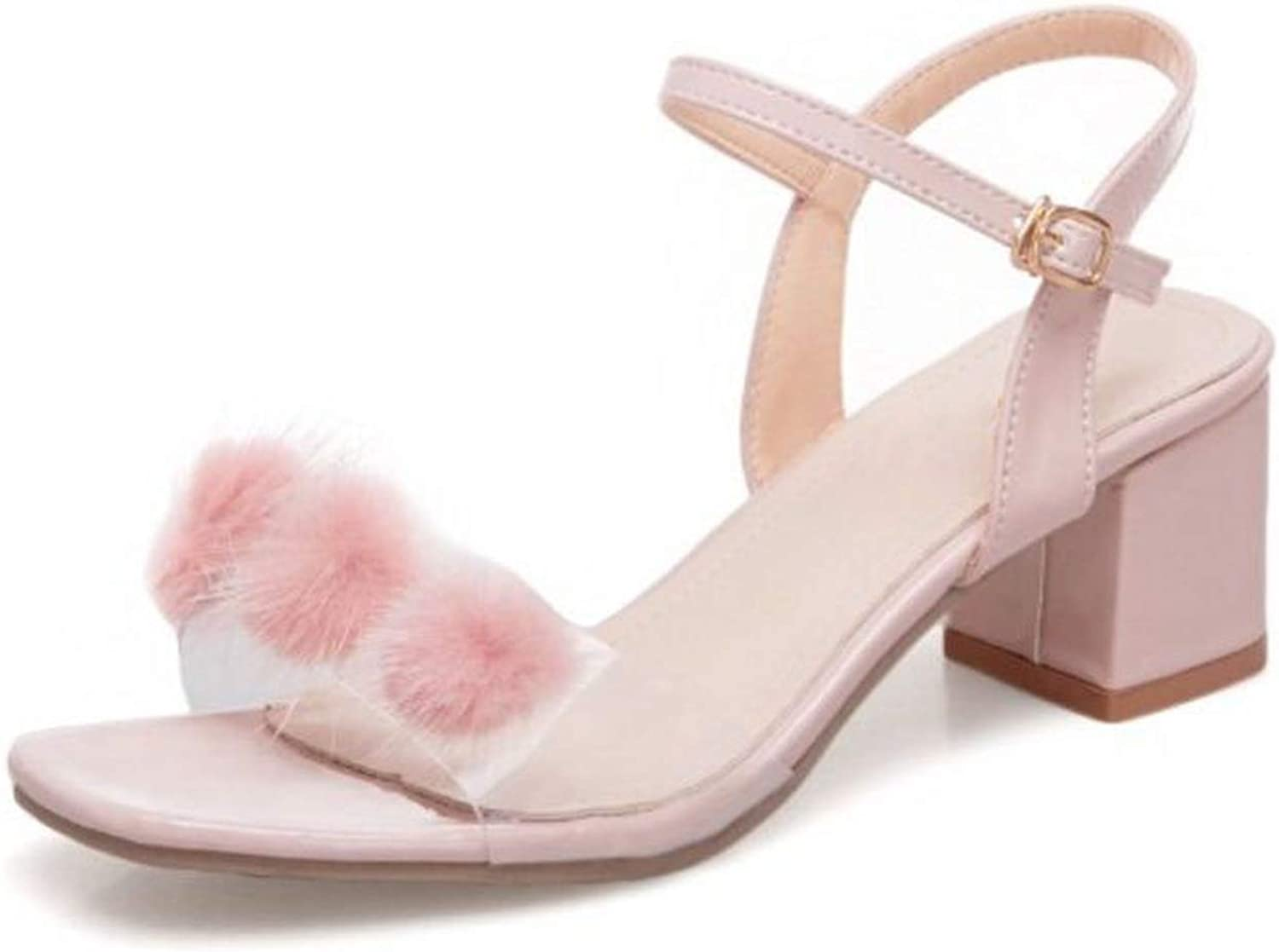 Meiguiyuan Women High Heel Sandal Open Toe Fur Buckle Thick Heel Sandals Sweet Korean shoes